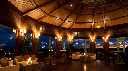 Evening view inside the atlantic room restaurant at the ocean course clubhouse